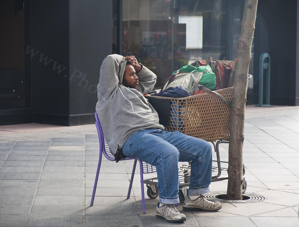 Homeless Man with Shopping Cart - Photo Tripping America